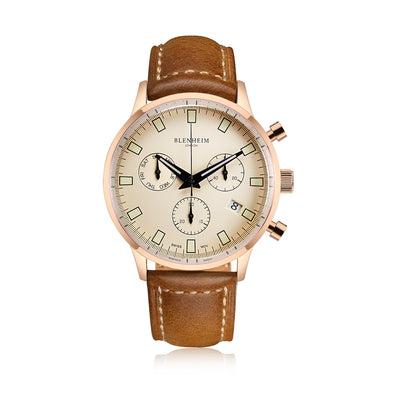 Blenheim London® Chronomaster Rose Gold Pilot Unisex Watch with Tan leather strap