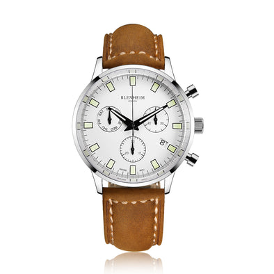 Chronomaster silver pilot watch with tan leather strap