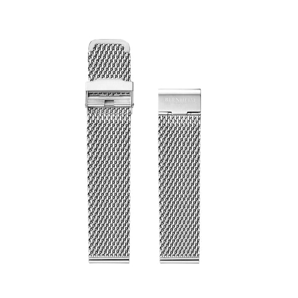 Stainless steel mesh strap silver