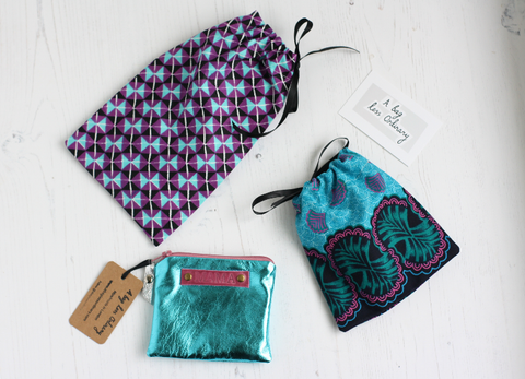 All A Bag Less Ordinary accessories come in reusable fabric drawstring gift bag