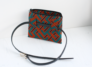 Black vegan leather and African fabric belt bag