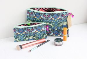 William Morris strawberry thief fabric pouch and makeup bag