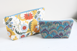 Yellow and blue handmade makeup bags for women