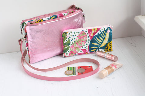 Pink and Silver leather cross body with a jungle fabric purse