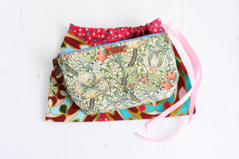 William Morris print JOY make up bag and free drawstring gift bag