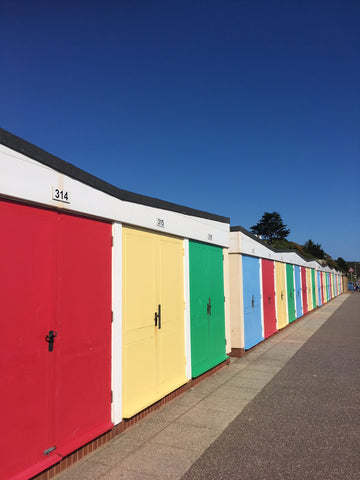 Colourful beach huts at Exmouth