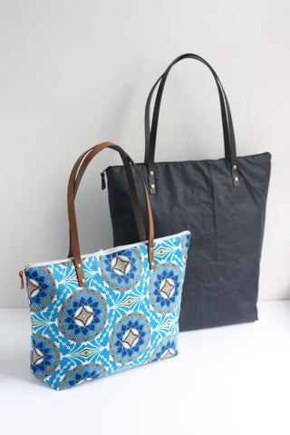 A Bag Less Ordinary Ankara fabric and waxed canvas tote bags