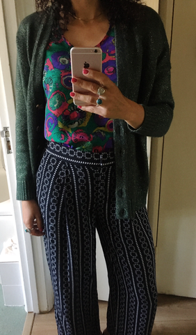 Sparkly green zara cardigan and colourful silk cami