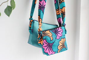 Teal vegan leather and Ankara fabric cross body bag