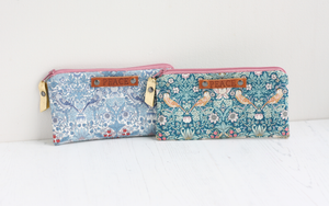 Liberty fabric William Morris print purses with peace tag