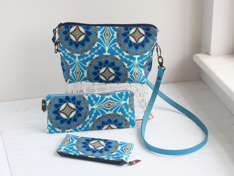 Blue Ankara fabric and leather accessories by A Bag Less Ordinary