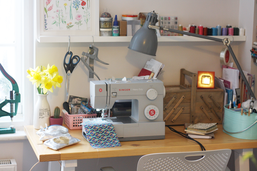 A Bag Less Ordinary's workspace where the handmade accessories are created