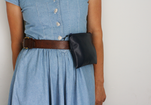 Navy leather belt bag by A Bag Less Ordinary