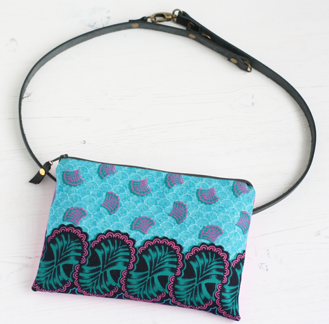 Turquoise & pink fabric and metallic leather belt bag