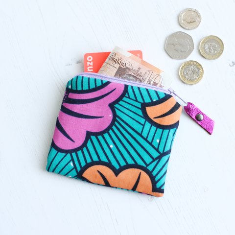 Green and pink Ankara fabric coin purse