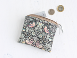 Liberty fabric & silver vegan leather purse