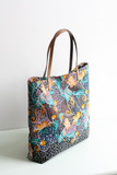 Large Ankara fabric tote bag with leather handles