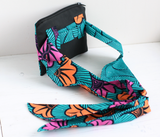 Ankara fabric & black vegan leather belt bag