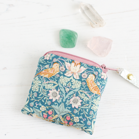 William Morris bird print crystal pouch in a blue Liberty fabric