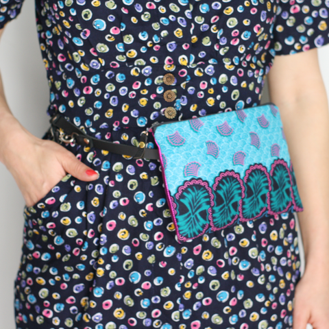 Turquoise & pink fabric and metallic leather belt bag (no belt)