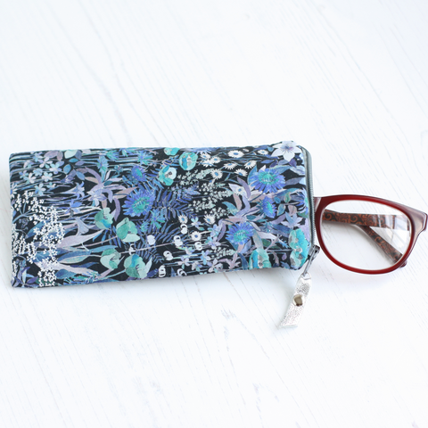 Blue & green floral Liberty fabric glasses case