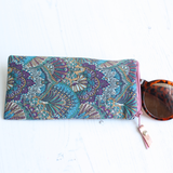 Blue Peacock print sunglasses case