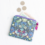 Blue bird print Liberty fabric coin purse