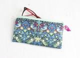Blue bird print mini make up bag