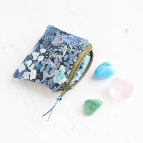 Blue floral & vegan leather pouch for Crystals
