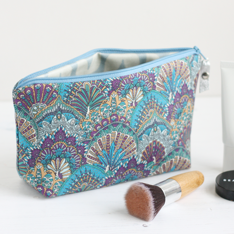Blue peacock fabric makeup bag