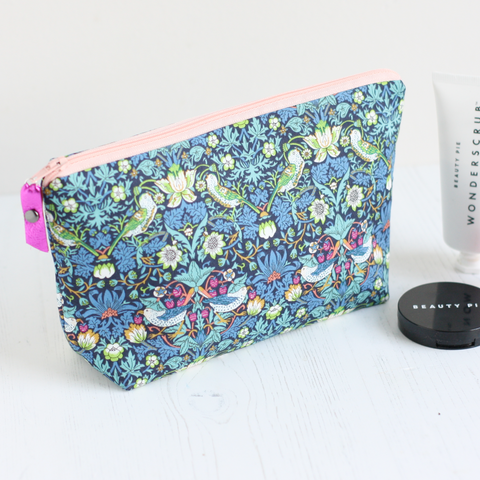 Blue floral makeup bag