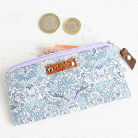 Blue Liberty fabric JOY mini purse
