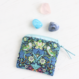 William Morris bird print crystal pouch in a colourful Liberty fabric