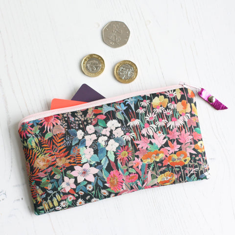Pink floral Liberty fabric zip purse