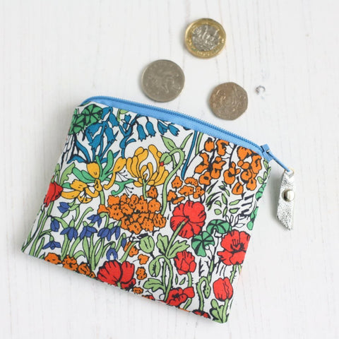 Red Liberty fabric floral coin purse