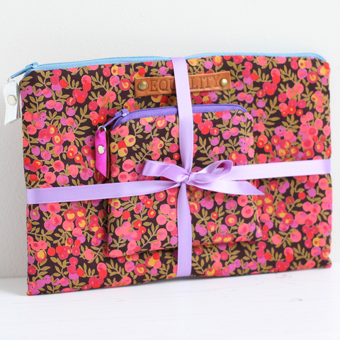 Pink floral makeup bag gift set made from Liberty fabric