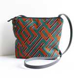 Black Ankara fabric and leather crossbody bag