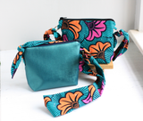 Green Ankara fabric cross body bag with Faux leather