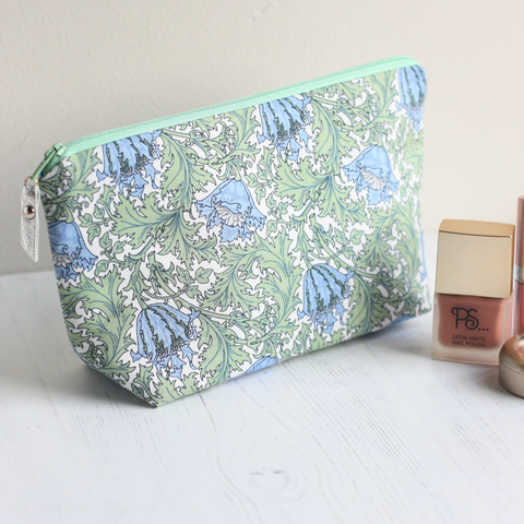 Green floral fabric makeup bag