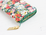 Green floral Liberty fabric glasses case