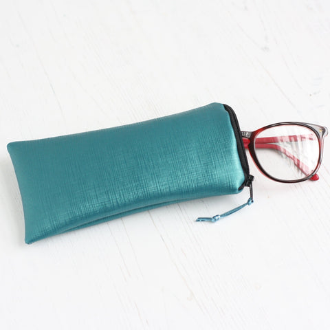 Green vegan leather glasses case