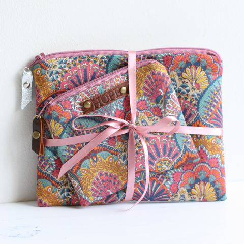 Pink Liberty fabric HOPE purse gift set