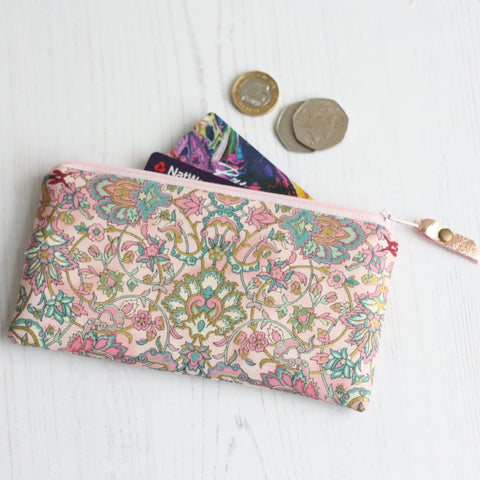 Pink & gold fabric purse