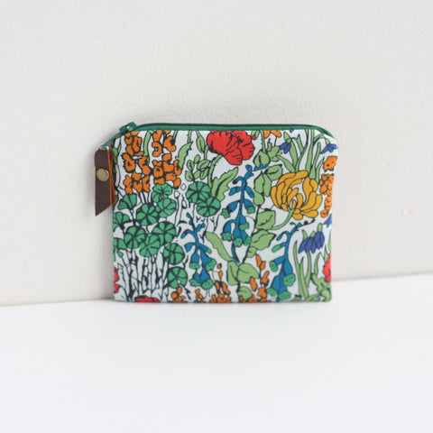 Green Liberty fabric floral coin purse