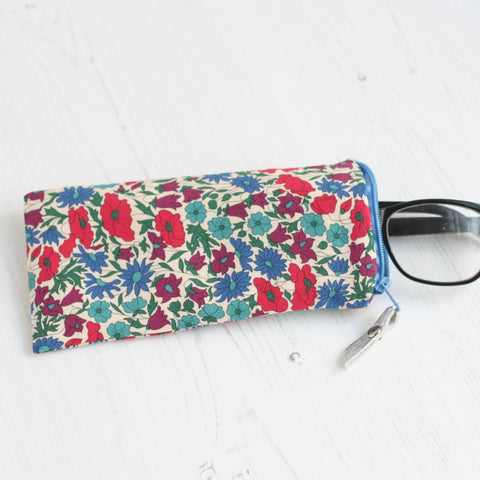 Pink floral fabric glasses case