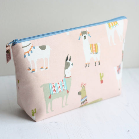 Pink Llama print waterproof wash bag