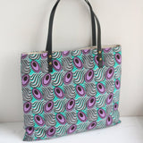Purple Ankara fabric tote with leather handles