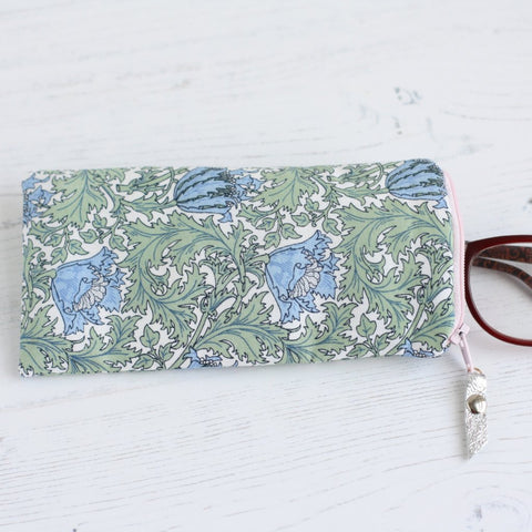 Green floral fabric glasses case