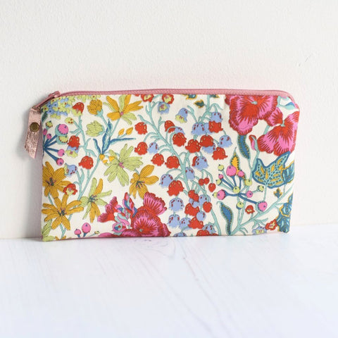 Pink floral Liberty fabric makeup bag