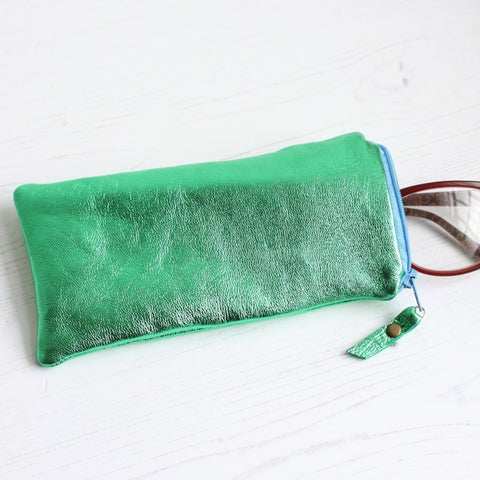 Green metallic leather glasses case